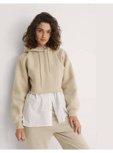 NA-KD organic raw edge hoodie - beige NA-KD Sweater 40,00€