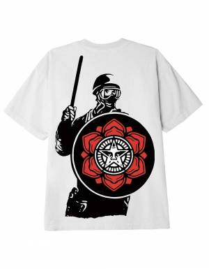Obey Riot cop peace shield classic t-shirt - white obey T-shirt 46,00€