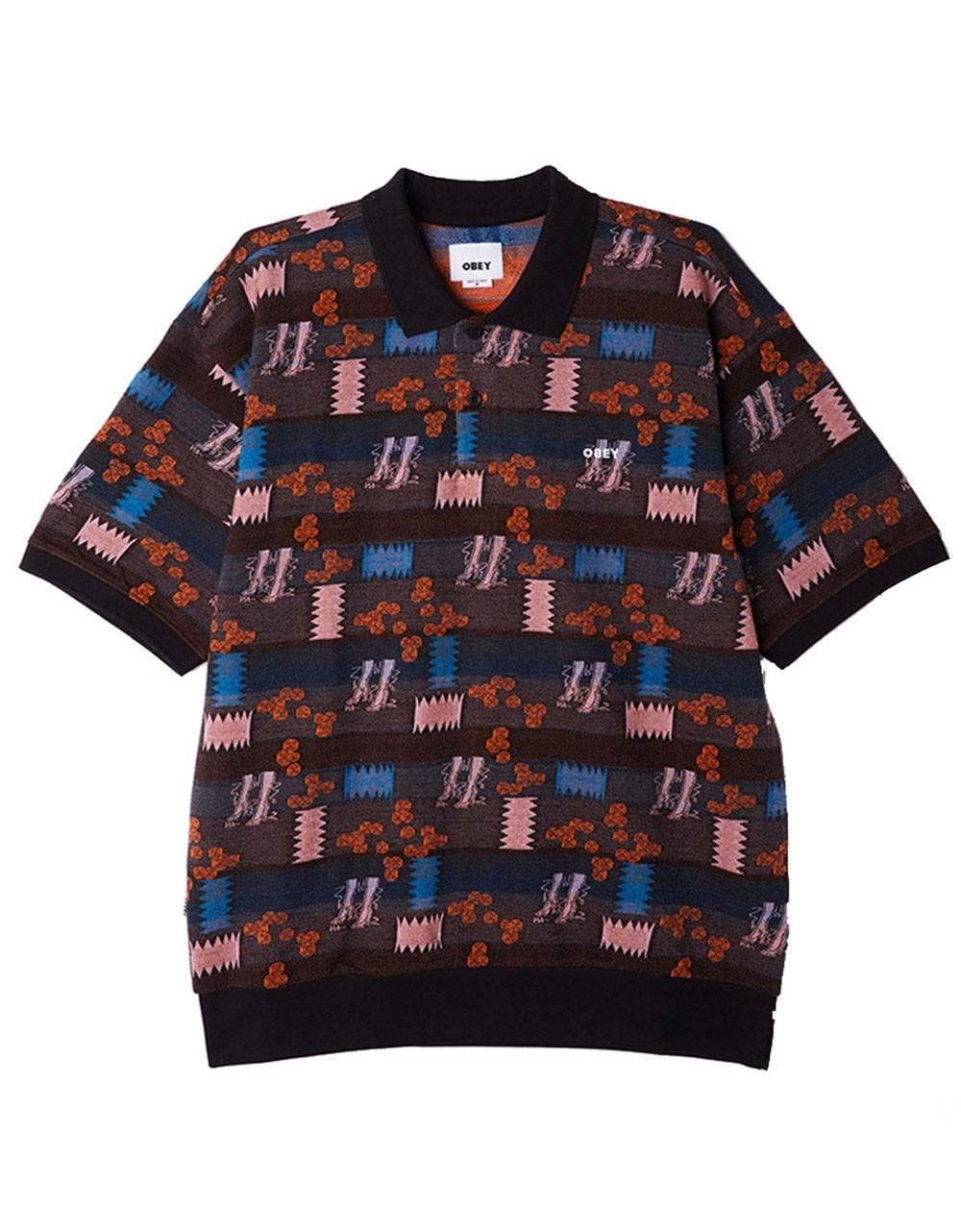 Obey Eddy knit polo - black multi obey T-shirt 80,00€