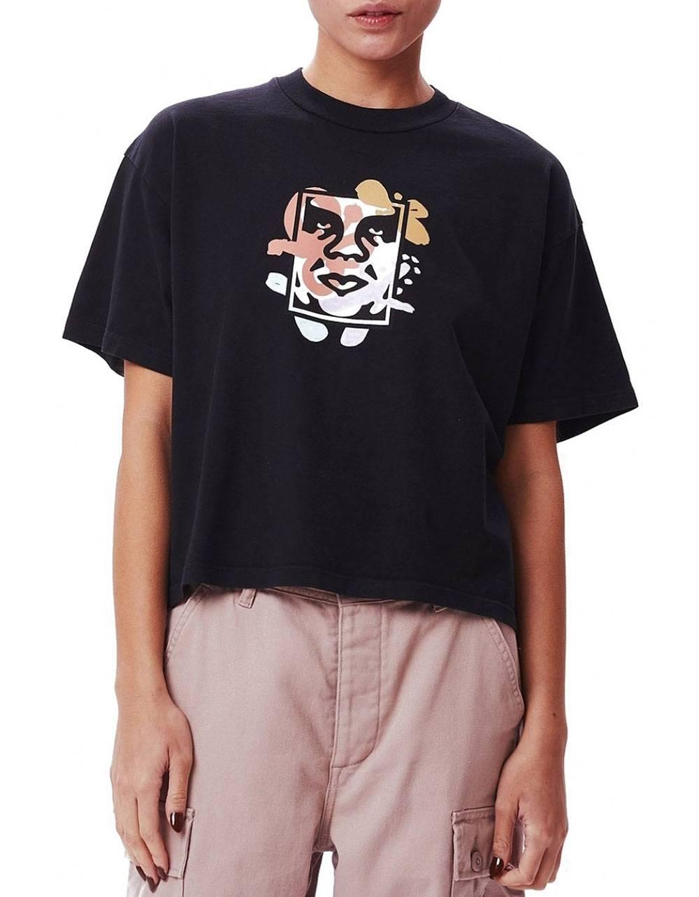 Obey Woman flower dance custom crop tee - off black obey T-shirt 36,89€