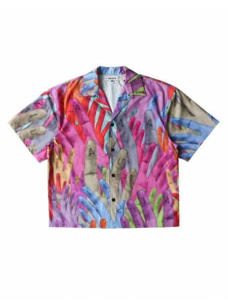 Salute HK Hand box fit print shirt - multi allover Salute HK Shirt 97,54€