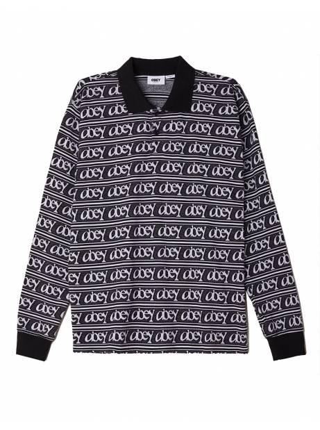 Obey Wergner jacquard longsleeve polo - black/ multi obey Sweater 96,00€