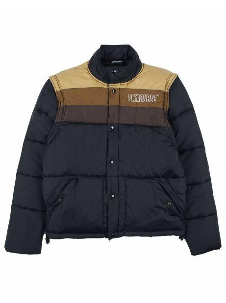 Pleasures Call me convertible puffer jacket - black/tan Pleasures Bomber 195,90€