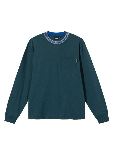 Stussy Jacquarded mock neck crew longsleeve - teal Stussy Sweater 81,15€
