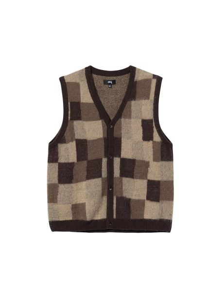 Stussy Wobbly check sweater vest - brown Stussy Knitwear 139,00€