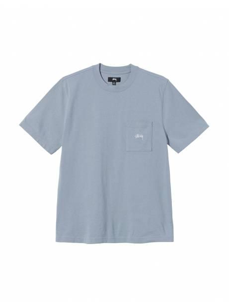 Stussy Stock logo pocket crew knit tee - slate Stussy T-shirt 65,00€