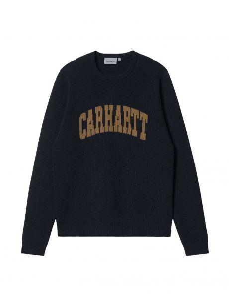 Carhartt Wip University script knit sweater - dark navy / hamilton brown CARHARTT WIP Knitwear 125,00€