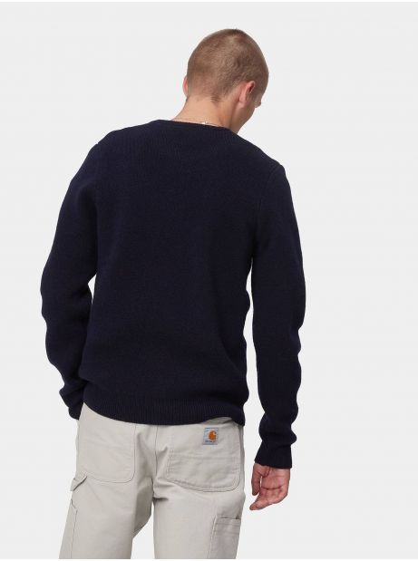 Carhartt Wip University script knit sweater - dark navy / hamilton brown CARHARTT WIP Knitwear 102,46€