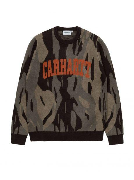 Carhartt Wip University script knit sweater - camo unite / coppertone CARHARTT WIP Knitwear 125,00€