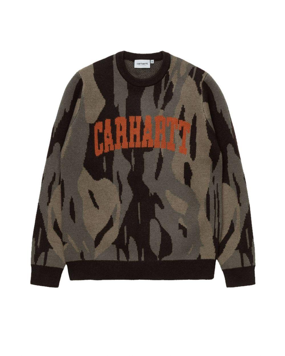 Carhartt Wip University script knit sweater - camo unite / coppertone CARHARTT WIP Knitwear 102,46€